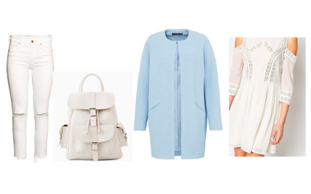 hellblauer Mantel, weißes Rucksack, Häkelkleid, weiße Hose