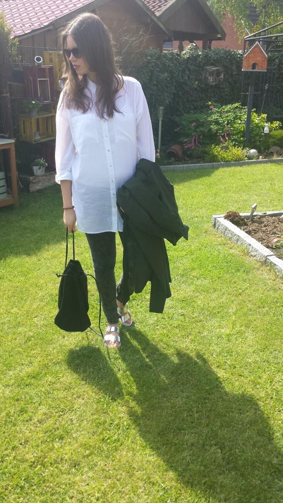 weiße lange Bluse