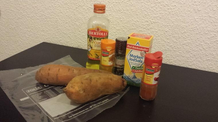 Zutaten für Süßkartoffelpommes