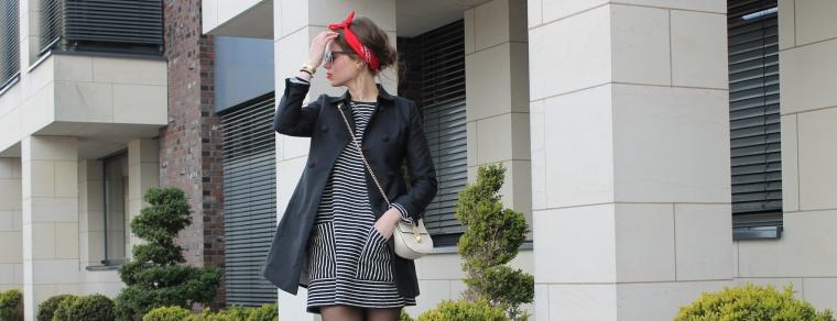 Gestreiftes Pulloverkleid - Chloe Drew Replicat-Bandana rot2
