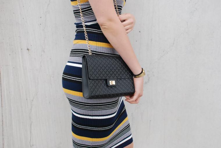 Kleid mit Querstreifen-Kleid Blockstreifen - Kleid bunt - Midikleid kombiniert - Runde Sonnenbrille - modegeschmack blog12